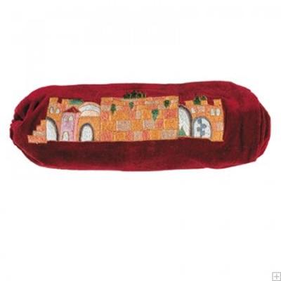 """תמונה של תיק לשופר מקטיפה """"ירושלים העתיקה"""" (אדום) - יאיר עמנואל"""