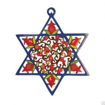 """תמונה של קישוט קיר ממתכת צבועה חתוכה בלייזר """"מגן דוד"""" - יאיר עמנואל"""