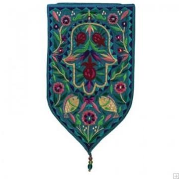 """תמונה של שטיח קיר מגן """"חמסה"""" (טורקיז) - יאיר עמנואל"""