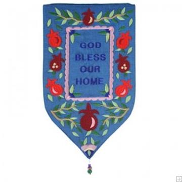 """תמונה של שטיח קיר מגן """"ברכה"""" (כחול - אנגלית) - יאיר עמנואל"""