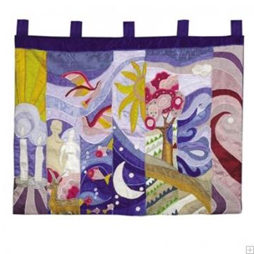 """תמונה של קישוט קיר גדול ממשי רקום """"שבעת ימי הבריאה"""" - יאיר עמנואל"""