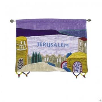 """תמונה של קישוט קיר ממשי רקום """"ירושלים העתיקה"""" (צבעוני - אנגלית) - יאיר עמנואל"""