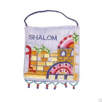 """תמונה של קישוט קיר ממשי רקום """"ירושלים העתיקה - שלום"""" (אנגלית) - יאיר עמנואל"""