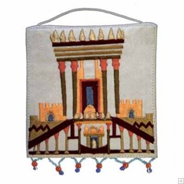 """תמונה של קישוט קיר ממשי רקום """"בית המקדש"""" (לבן) - יאיר עמנואל"""