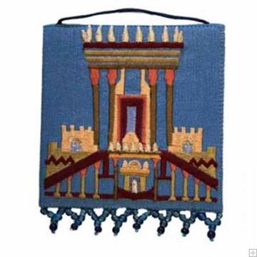 """תמונה של קישוט קיר ממשי רקום """"בית המקדש"""" (כחול) - יאיר עמנואל"""