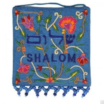 """תמונה של קישוט קיר קטן ממשי רקום """"פרחים"""" (כחול) - יאיר עמנואל"""