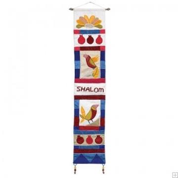 """תמונה של קישוט קיר ארוך ממשי רקום """"ציפורים"""" (צבעוני - אנגלית) - יאיר עמנואל"""