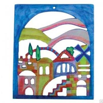 """תמונה של קישוט קיר מעץ מגולף """"ירושלים העתיקה"""" - יאיר עמנואל"""