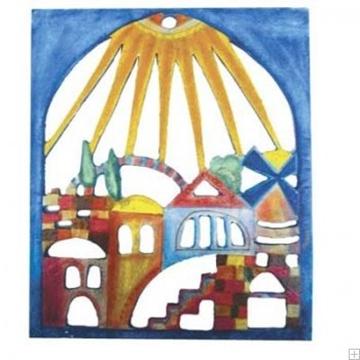 """תמונה של קישוט קיר מעץ מגולף """"נוף ירושלים"""" - יאיר עמנואל"""