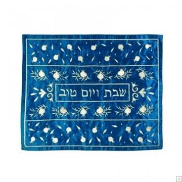 """תמונה של כיסוי חלה ממשי עם ריקמה """"רימונים"""" (כחול) - יאיר עמנואל"""