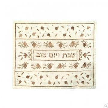 """תמונה של כיסוי חלה ממשי עם ריקמה """"רימונים"""" (זהב) - יאיר עמנואל"""