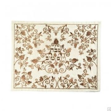 """תמונה של כיסוי חלה ממשי עם ריקמה """"עץ רימונים"""" (זהב) - יאיר עמנואל"""