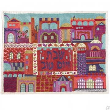 """תמונה של כיסוי חלה ממשי עם ריקמה בעבודת יד """"ירושלים העתיקה"""" (צבעוני) - יאיר עמנואל"""