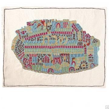 """תמונה של כיסוי חלה ממשי עם ריקמה בעבודת יד """"ירושלים העתיקה פסיפס"""" - יאיר עמנואל"""