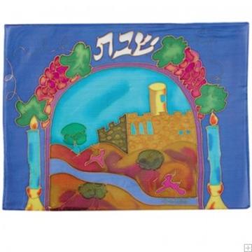 """תמונה של כיסוי חלה ממשי צבוע """"נרות ירושלים"""" - יאיר עמנואל"""