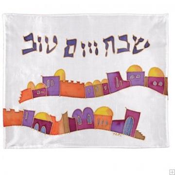 """תמונה של כיסוי חלה ממשי צבוע """"ירושלים - פסים"""" - יאיר עמנואל"""