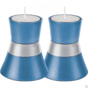 תמונה של זוג פמוטים קטנים לשבת מאלומיניום (כחול) - יאיר עמנואל
