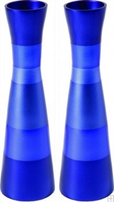 תמונה של זוג פמוטים גדולים לשבת מאלומיניום (כחול) - יאיר עמנואל