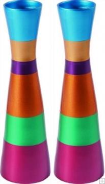 תמונה של זוג פמוטים גדולים לשבת מאלומיניום (צבעוני) - יאיר עמנואל