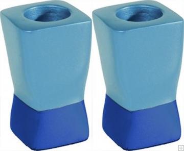 תמונה של זוג פמוטים לשבת מאלומיניום (כחול) - יאיר עמנואל