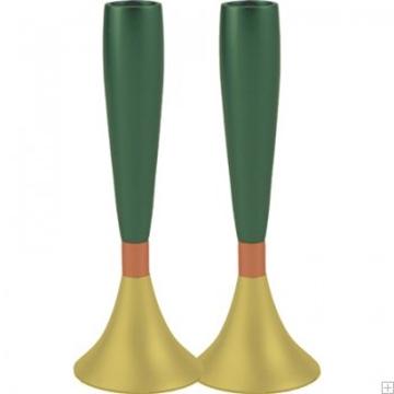 תמונה של זוג פמוטים לשבת מאלומיניום (ירוק וזהב) - יאיר עמנואל