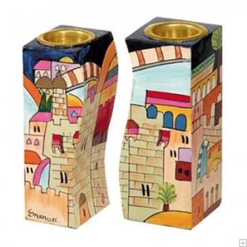"""תמונה של זוג פמוטים לשבת מותאמים מעץ """"ירושלים העתיקה"""" - יאיר עמנואל"""