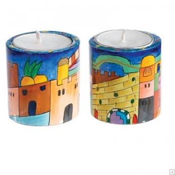 """תמונה של זוג פמוטים מעוגלים לשבת מעץ """"ירושלים העתיקה"""" - יאיר עמנואל"""