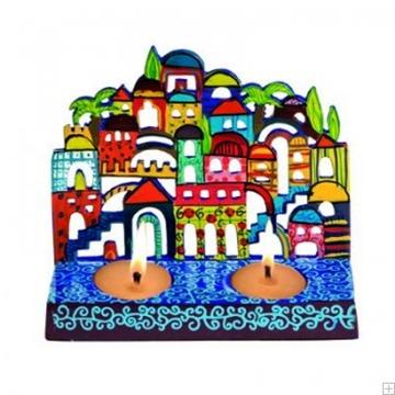 """תמונה של פמוטים לשבת ממתכת חתוכה בלייזר """"ירושלים העתיקה"""" - יאיר עמנואל"""