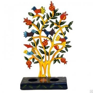 """תמונה של פמוטים לשבת ממתכת חתוכה בלייזר """"ציפורים על עץ"""" - יאיר עמנואל"""