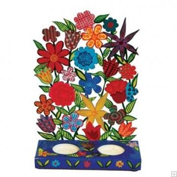 """תמונה של פמוטים לשבת ממתכת חתוכה בלייזר """"פרחים"""" - יאיר עמנואל"""