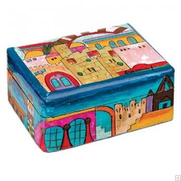 """תמונה של זוג פמוטי נסיעה לשבת עם קופסה מעץ צבוע """"אבני ירושלים"""" - יאיר עמנואל"""