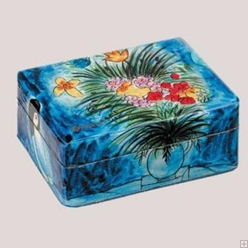 """תמונה של זוג פמוטי נסיעה לשבת עם קופסה מעץ צבוע """"פרחים"""" - יאיר עמנואל"""