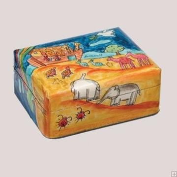 """תמונה של זוג פמוטי נסיעה לשבת עם קופסה מעץ צבוע """"תיבת נח"""" - יאיר עמנואל"""