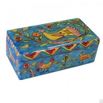 """תמונה של זוג פמוטי נסיעה לשבת עם קופסה מעץ צבוע """"ציפורים"""" - יאיר עמנואל"""