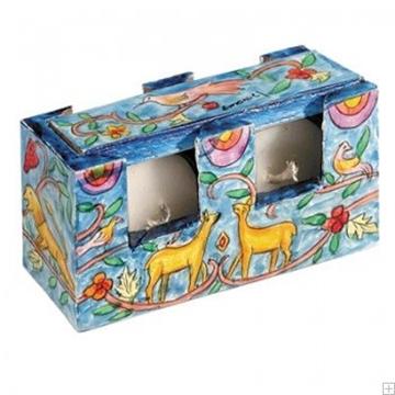 """תמונה של זוג פמוטי נסיעה לשבת עם קופסה מעץ צבוע """"איילים וציפורים"""" - יאיר עמנואל"""