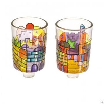 """תמונה של זוג פמוטים מזכוכית צבועה """"ירושלים העתיקה"""" - יאיר עמנואל"""