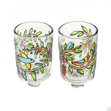 """תמונה של זוג פמוטים מזכוכית צבועה """"ציפורים ופרחים"""" - יאיר עמנואל"""