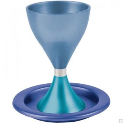תמונה של גביע קידוש מאלומיניום עם תחתית (כחול - טורקיז) - יאיר עמנואל