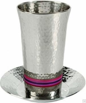 תמונה של גביע קידוש מניקל עם תחתית חמישה צבעים (אדום) - יאיר עמנואל