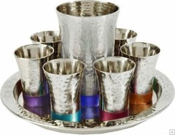 תמונה של סט קידוש מניקל - גביע + 6 כוסות + מגש (צבעוני) - יאיר עמנואל