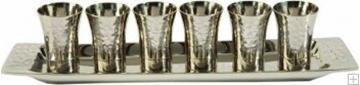 תמונה של סט קידוש מניקל - 6 כוסות + מגש (כסף) - יאיר עמנואל