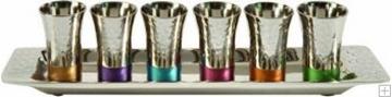 תמונה של סט קידוש מניקל - 6 כוסות + מגש (צבעוני) - יאיר עמנואל
