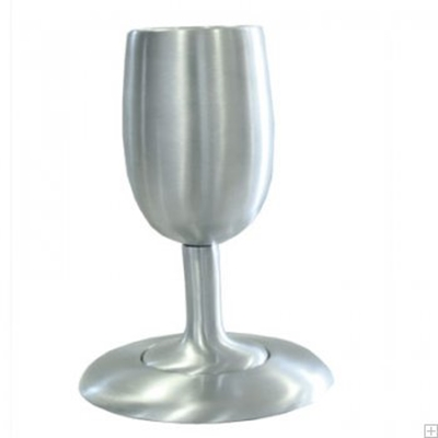 תמונה של גביע קידוש קלאסי ותחתית מאלומיניום (כסף) - יאיר עמנואל