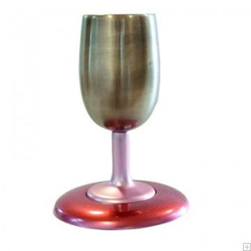תמונה של גביע קידוש ותחתית מאלומיניום (זהב - אדום) - יאיר עמנואל