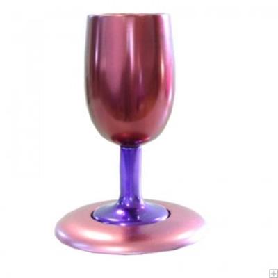 תמונה של גביע קידוש ותחתית מאלומיניום (סגול - ורוד) - יאיר עמנואל