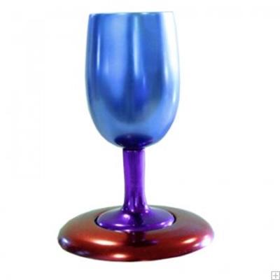 תמונה של גביע קידוש ותחתית מאלומיניום (כחול - אדום) - יאיר עמנואל
