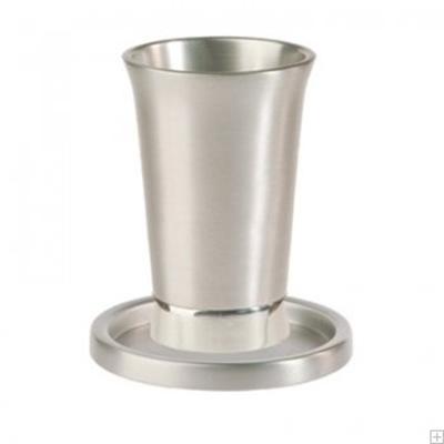 תמונה של גביע קידוש ותחתית מאלומיניום (כסף) - יאיר עמנואל
