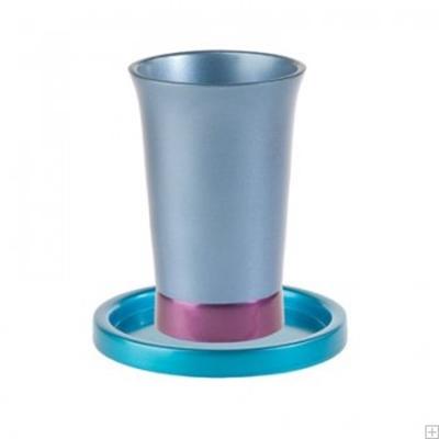 תמונה של גביע קידוש ותחתית מאלומיניום (כחול) - יאיר עמנואל