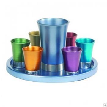 תמונה של סט קידוש מאלומיניום - גביע + 6 כוסות + מגש (צבעוני) - יאיר עמנואל