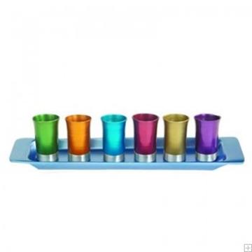 תמונה של סט קידוש מאלומיניום - 6 כוסות + מגש (צבעוני) - יאיר עמנואל